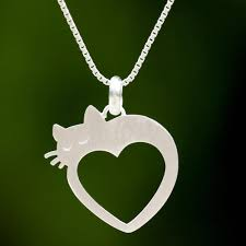 cat and heart thai 925 sterling silver pendant necklace lovestruck cat