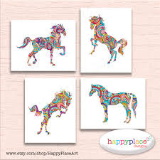 colorful set of 4 prints horses wall art horse prints large equine wall art suit horse
