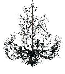 wrought iron crystal chandelier black