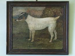 antique oil paintings bristles original oil on board of a dog