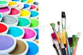 watercolor paint brushes. used paint brushes with watercolor set - painting concept | stock photo colourbox d
