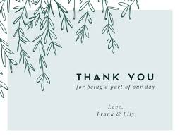 Thank you card images Greeting Green Vines Wedding Thank You Card Canva Customize 3560 Thank You Card Templates Online Canva