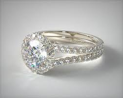 round split band diamond halo engagement ring 14k white gold