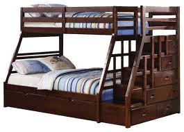 Espresso Wood Stairway Chest Twin Over Full Bunk Bed With Trundle Step  Stairs contemporary-bunk
