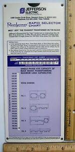 Transformer Chart Details About Jefferson Electric Engineering Slide Chart Rule Transformer Wiring Diagram Volts