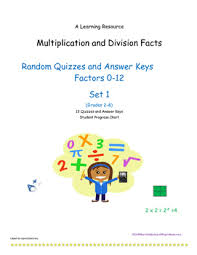 Multiplication And Division Facts 0 12 Random Order Set 1 Quizzes And Keys