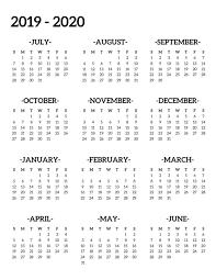 Calendar July 2020 Printable Printable Calendar July 2019 To June 2020 Calendar