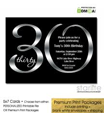 black silver 30th birthday invitation modern number