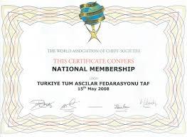 Türkiye Aşçılar Ve Şefler Federasyonu Hakkimizda Sertİfİkalar