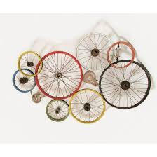 bicycle wall art wheels recycled on