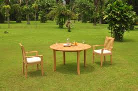 3 pc grade a teak wood dining set 52 round table and 2