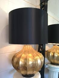 Large Gold Chunky Base Modern Table Lamp Black Shade