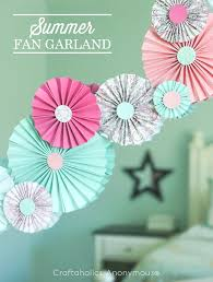 summer fan garland love paper rosettes these colors are great together