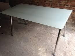 ikea galant white glass top desk with chrome legs