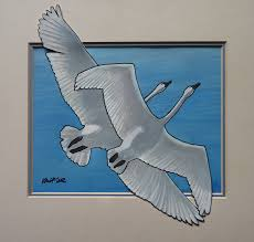 painting trumpeter swans in flight original painting on image for detail