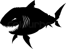sharp teeth. black graphic smiling silhouette shark with sharp teeth on white background | stock vector colourbox