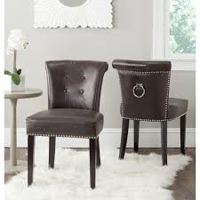 com safavieh mercer collection sinclair antique brown leather ring dining chair set of 2 chairs