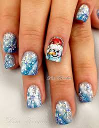 Christmas Hat Nail Design Gel Overly With Snowman With Santa Hat And Snowflakes
