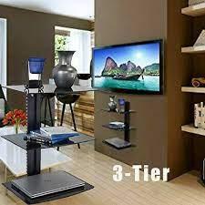 tv shelf wall mount 3 tier tempered