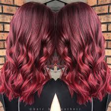 Dark Red To Light Red Hair Beautiful Plum Red To Vibrant Red Balayage Ombre Hair