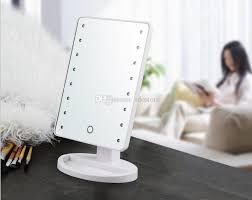 make up mirror lighting. Makeup Mirror With 16 Led Lights Touch Screen Dimmable Cosmetic Compact Mirrors Battery Operated Free Rotation Black/White In Stock Dhl Make Up Lighting