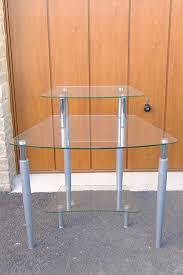 tempered glass computer desk with printer shelf