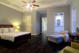 dark wood floor, soft grey/blue walls--love the simplicity and colors