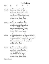 Just As I Am Chord Chart Music Chords Guitar Chords