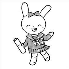 卒業ウサギ1のイラスト素材 日本福祉パステルアート協会