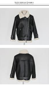 new winter coat thick lamb s wool coat female motorcycle leather jacket fur collar fashion wide ane