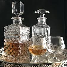 antique crystal whiskey decanter set two vintage decanters cognac bar with