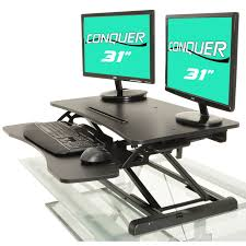 shop height adjustable standing desk monitor riser gas spring tabletop sit to stand workstation on sale free shipping today overstockcom 18852763 desk monitor riser e23