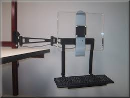articulating monitor arm with keyboard tray channel mount