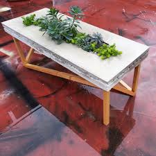 concrete wood planter table i made the concrete top was originally unbroken but i designed it so it had dirt filled planters beneath