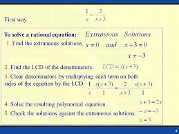 to solve a rational equation 1 find the extraneous solutions