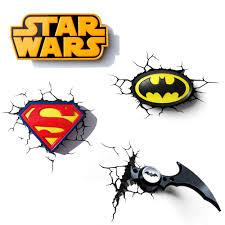 childrens night lights 3d wall deco lighting superman batman star wars