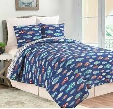 3pc king quilt set reversible navy blue