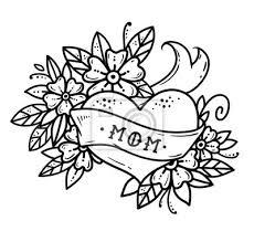 Plakát Tattoo Srdce Se Stuhou Květiny A Nápisy Mom Bez Barvyvýroba