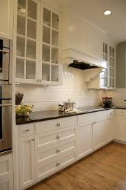 Impressive subway tile backsplash in Kitchen Traditional with White Dove