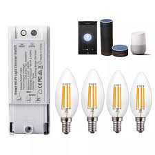 Wireless Light Dimmer 4pcs Ac220v E14 4w Dimmable Cob Led Candle Light Bulb Smart Wifi Dimmer Light Switch Work With Amazon Alexa