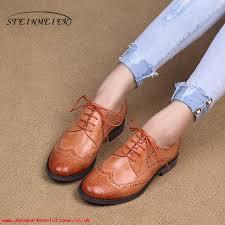 fashion womens shoes 100 genuine sheepskin leather brogue designer vintage yinzo lady flats shoes handmade oxford shoes for women black brown grey tpvu1u93