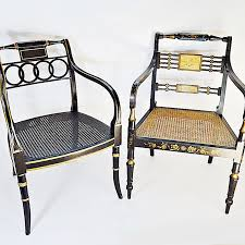 Pair Of Black Lacquered Regency Style Chairs With Baker  Regency Style Furniture Y15