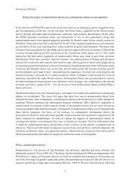 modernization essay university of bristol 1 what is the legacy of modernization theories for contemporary debates on development