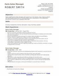 Parts Sales Manager Resume Samples Qwikresume