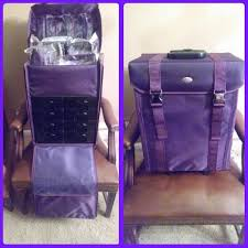 professional soft sided rolling makeup case w drawers purple review purple yazmo soft sided rolling makeup case