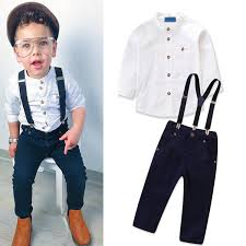 Pants Shirt 2019 Baby Boy Suits White Shirt Solid Fastener Navy Pants Kids Designer Clothes Suspenders Single Row Buckle Pocket Zipper Long Sleeve Outfits From