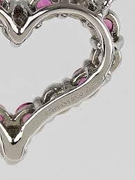 diamond and pink sapphire tiffany hearts small pendant necklace