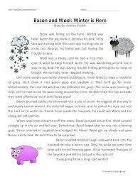 Bacon and Wool: Winter is Here - Reading Comprehension Worksheet