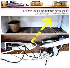 hide cords on desk wires hung hooks under so you cant see them love it open hide cords on desk