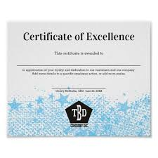 Certificate Of Excellence Staff Employee Award Poster
